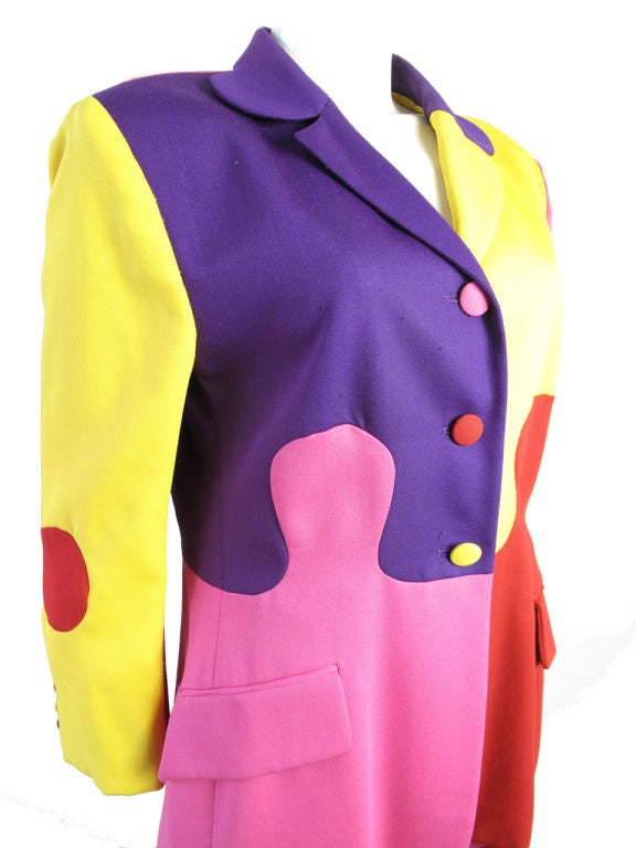 Moschino puzzle suit. Jacket: 40