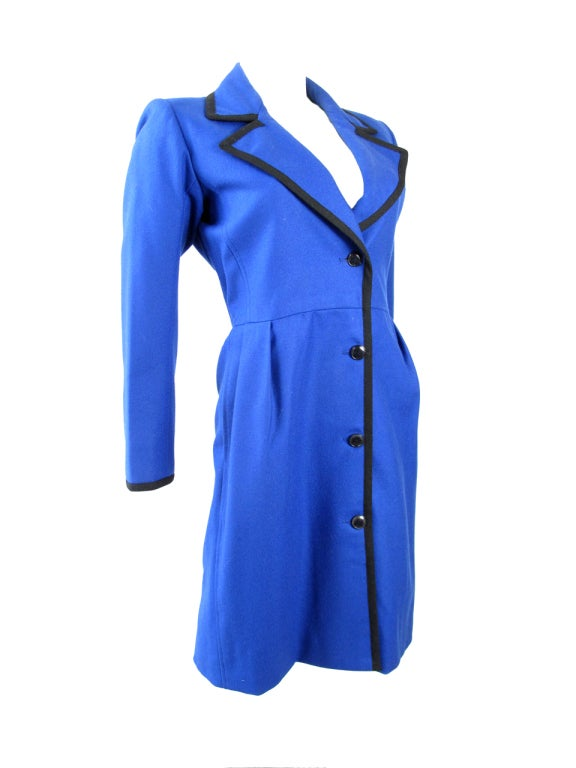 Blue 1980s Yves Saint Laurent Coat - small For Sale
