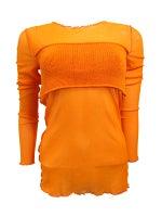 Jean Paul Gaultier Sheer Mesh Top With Knit Stripe
