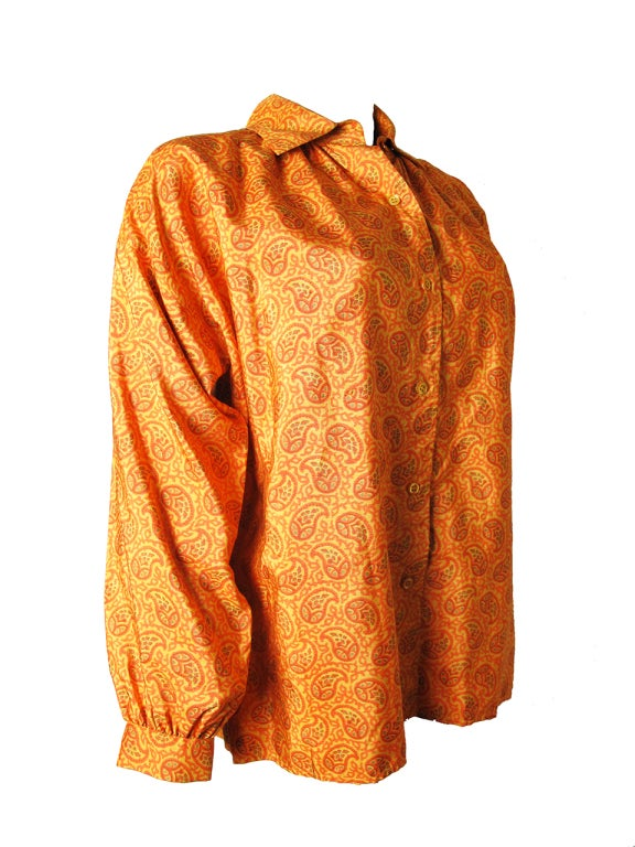 1970s Yves Saint Laurent Silk Peasant Blouse - Never worn 2