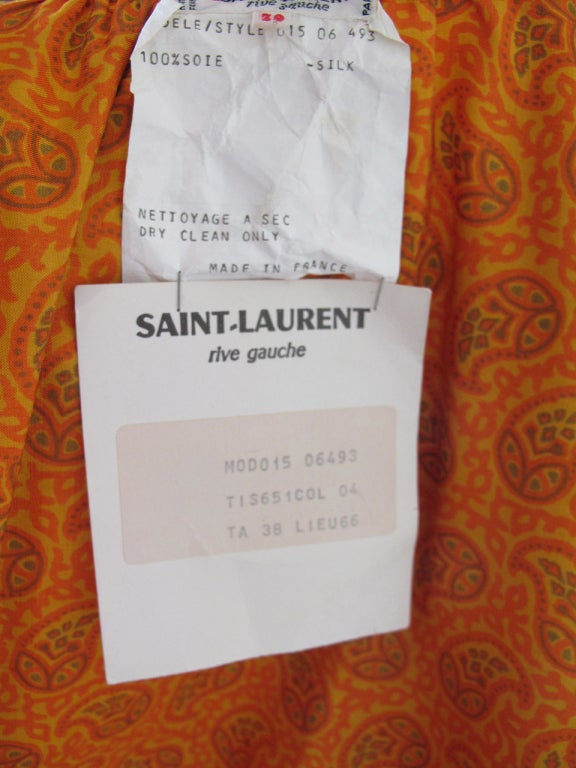 1970s Yves Saint Laurent Silk Peasant Blouse - Never worn 5