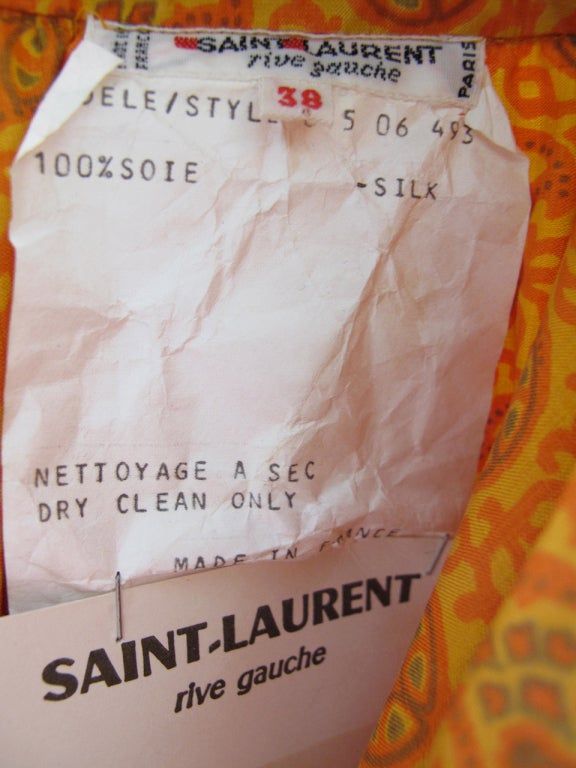 1970s Yves Saint Laurent Silk Peasant Blouse - Never worn 6