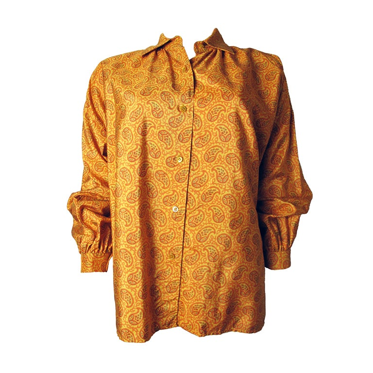 1970s Yves Saint Laurent Silk Peasant Blouse - Never worn 1