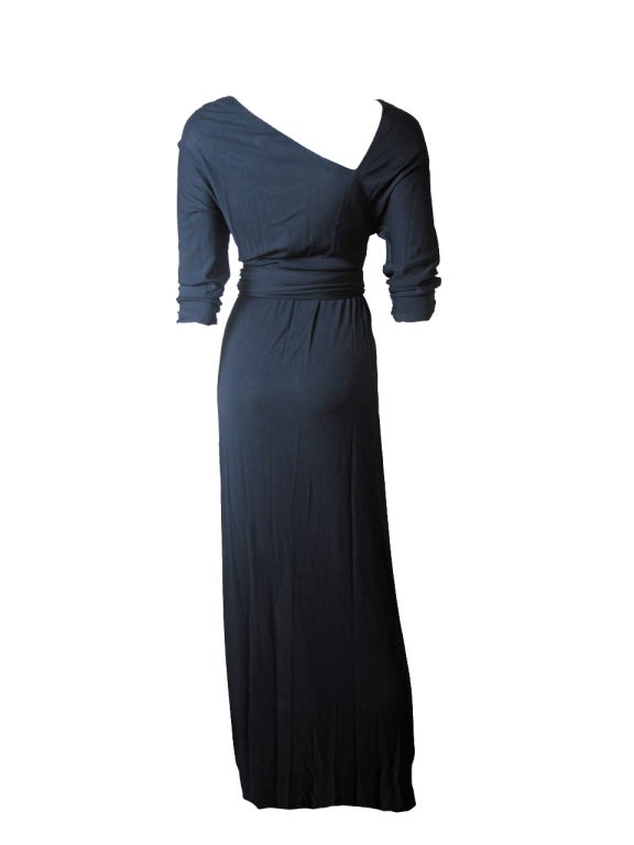 Black Halston black silk Jersey Gown, 1970s  For Sale