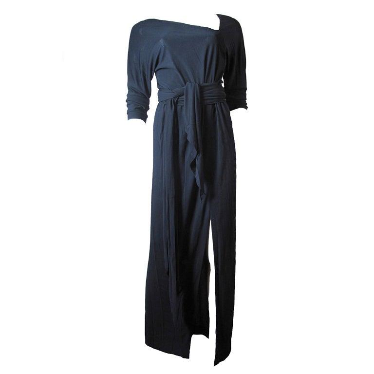 Halston black silk Jersey Gown, 1970s  For Sale