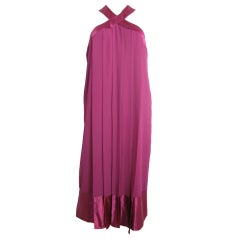 Pierre Cardin pink car wash polyester dress with silk satin trim, 1980s