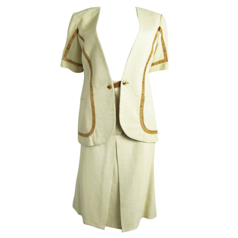 GUCCI linen suit with leather trim