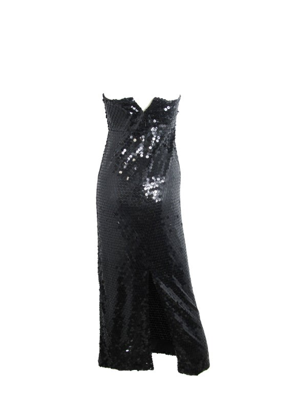 Black OLEG CASSINI Strapless Sequin Gown - sale For Sale