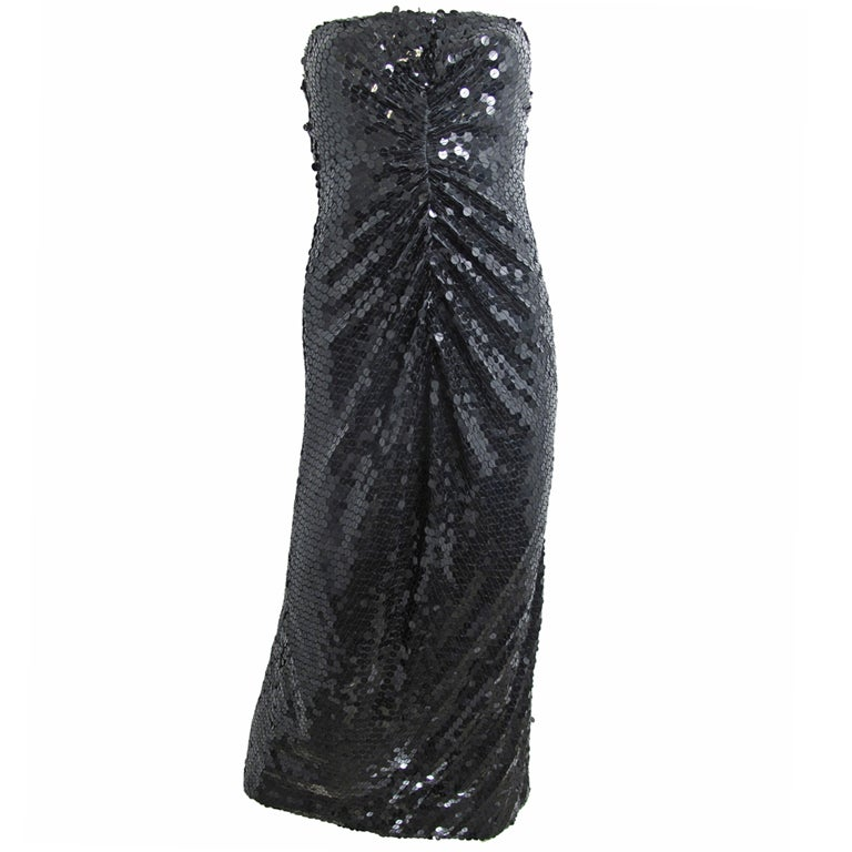 OLEG CASSINI Strapless Sequin Gown - sale For Sale