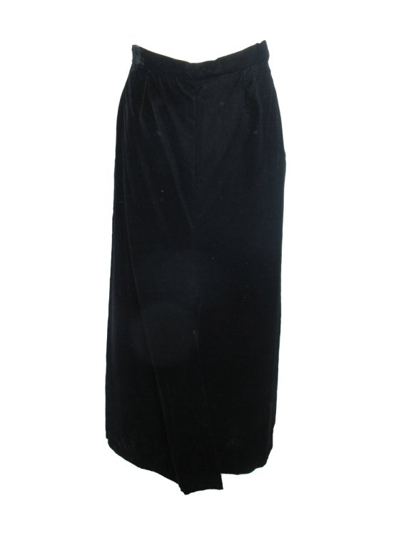 Black Yves Saint Laurent Rive Gauche velvet skirt and jacket For Sale