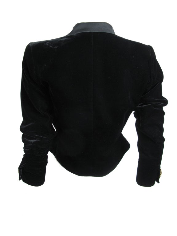 Yves Saint Laurent Rive Gauche velvet skirt and jacket For Sale 4