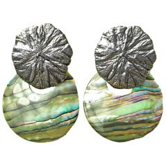 Stephen Dweck abalone shell and sterling earrings