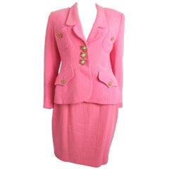 1980s pink Lolita Lempicka suit with mirrored buttons