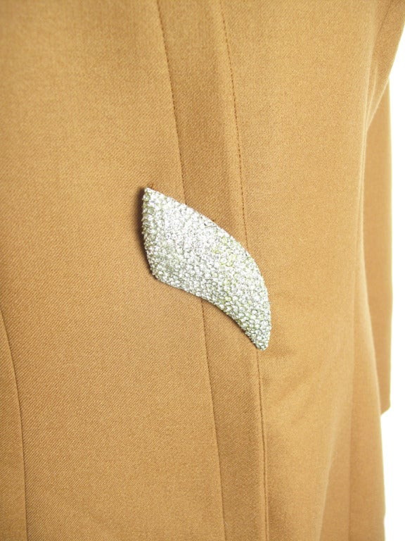 Thierry Mugler wool coffee suit with large rhinestone buttons.  Jacket: 39