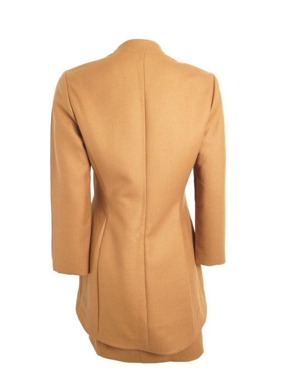 Women's Thierry Mugler coffee suit with rhinestone buttons For Sale