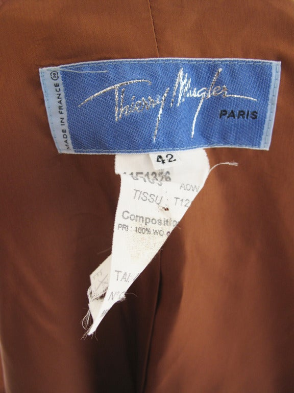 Thierry Mugler coffee suit with rhinestone buttons For Sale 2