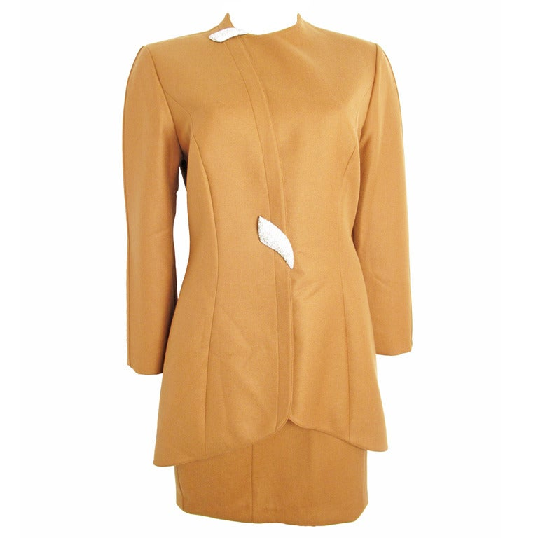 Thierry Mugler coffee suit with rhinestone buttons For Sale