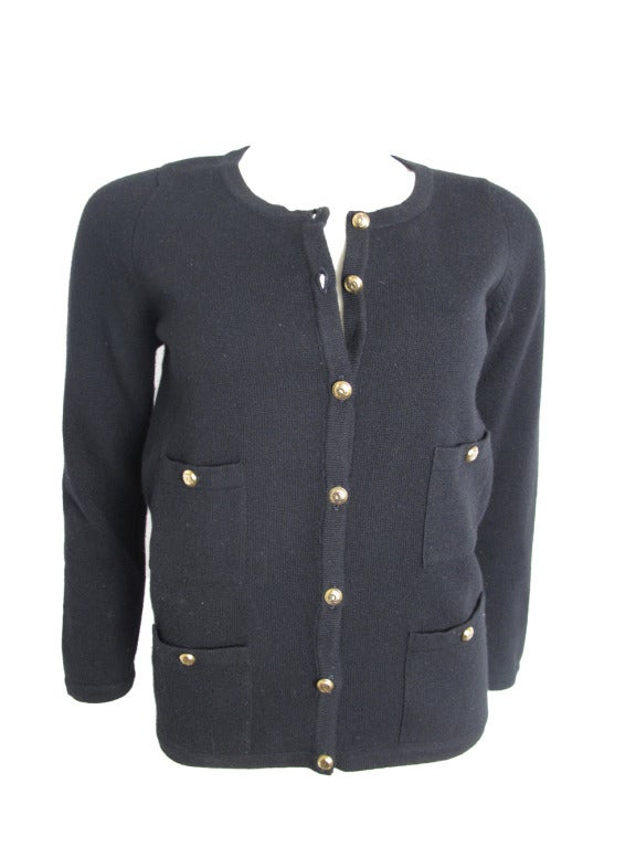 Chanel Black Cardigan With Quot Cc Quot Buttons At 1stdibs