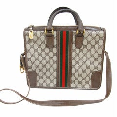 Gucci logo satchel bag with red/green canvas stripe