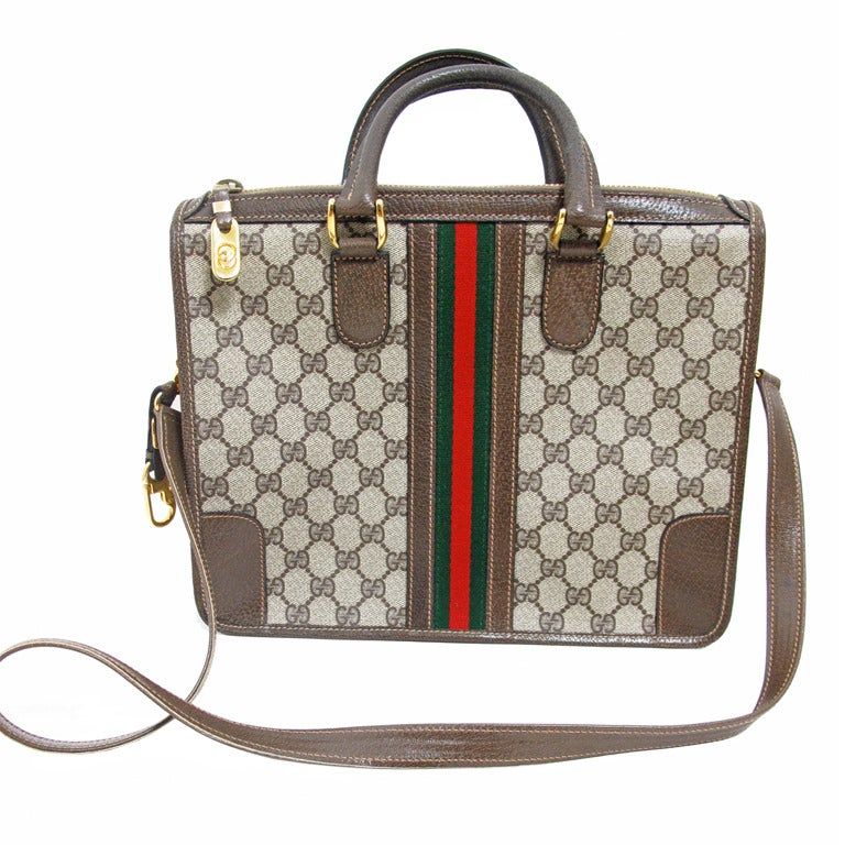 Gucci Logo Satchel Bag With Red Green Canvas Stripe At 1stdibs