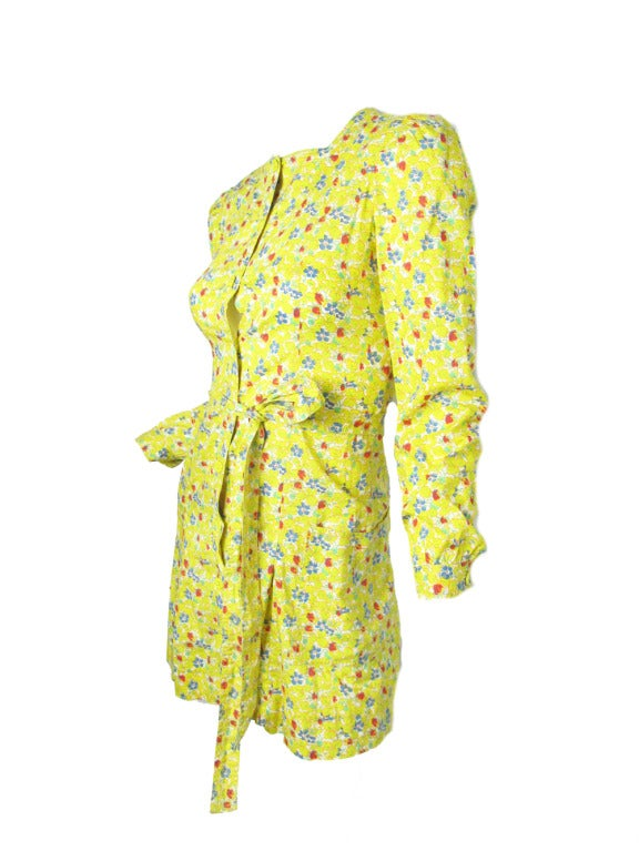 Yellow Late 60's - Early 70s Cacharel Floral mini dress sale For Sale