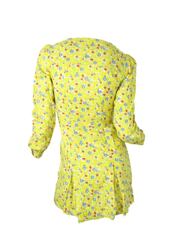 Late 60's - Early 70s Cacharel Floral mini dress sale In Fair Condition For Sale In Austin, TX