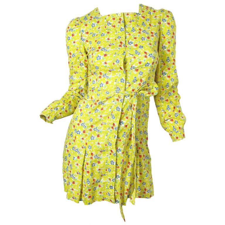 Late 60's - Early 70s Cacharel Floral mini dress sale For Sale