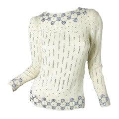 1960s Adolfo sweater with rhinestones