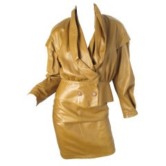 Thierry Mugler brown leather suit