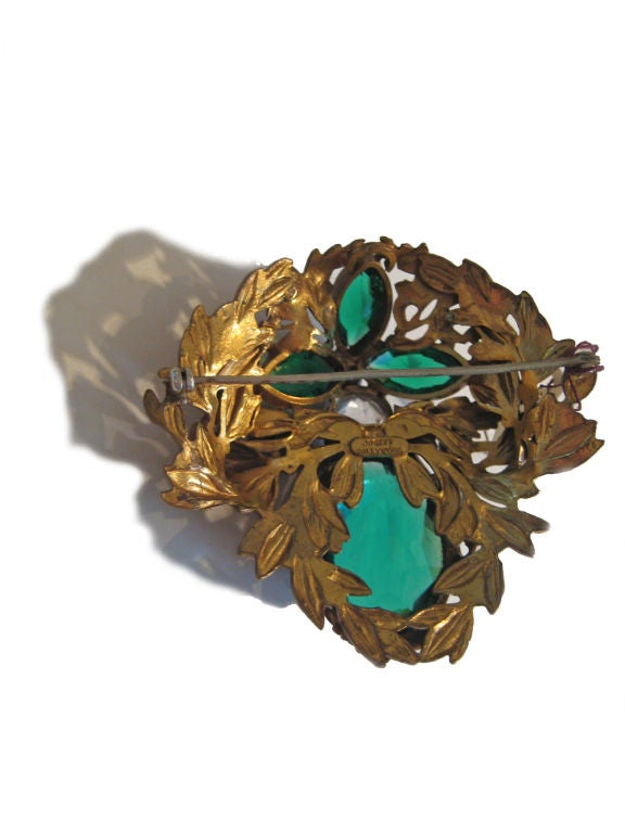 Art Deco 1940s Joseff of Hollywood Large Brooch  For Sale