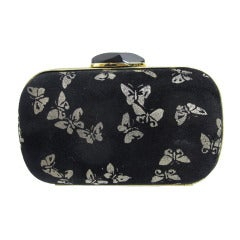 Bottega Veneta black suede butterfly clutch exclusively for Neiman Marcus