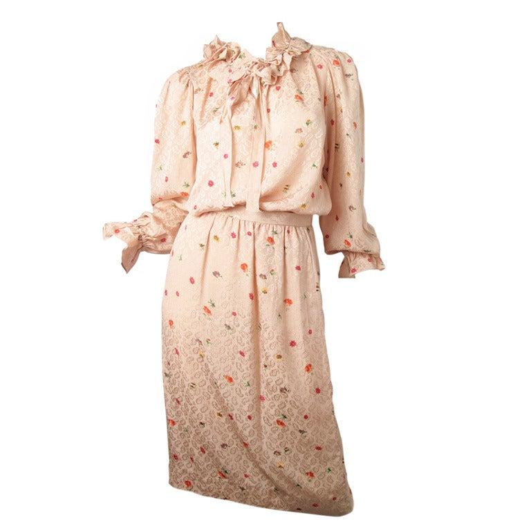 Oscar de la Renta silk floral blouse and skirt - sale