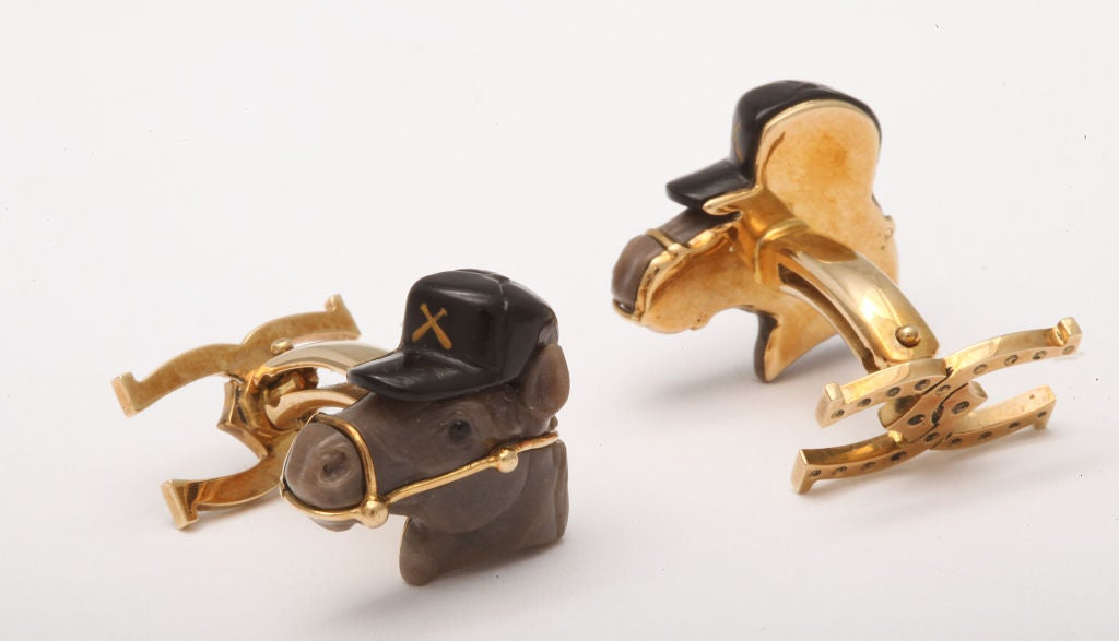 Michael Kanners Horse Cufflinks In New Condition For Sale In Bal Harbour, FL