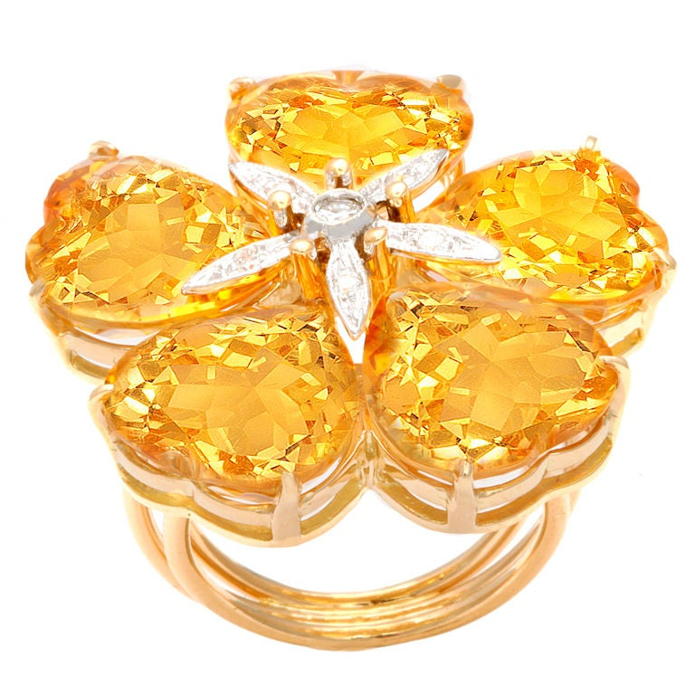 Michael Kanners Citrine and Diamond Ring
