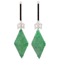 Jade Onyx & Diamond Earclips