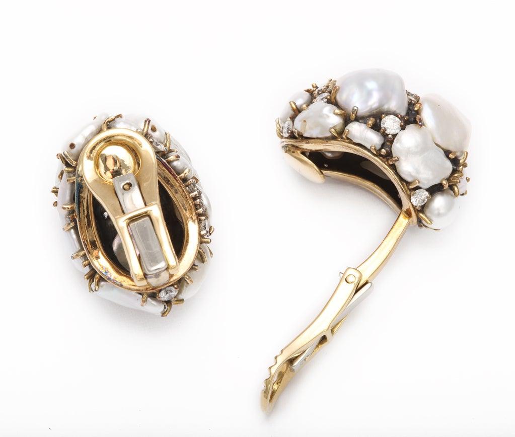Women's MARILYN COOPERMAN Keshi Pearl Diamond Earclips For Sale
