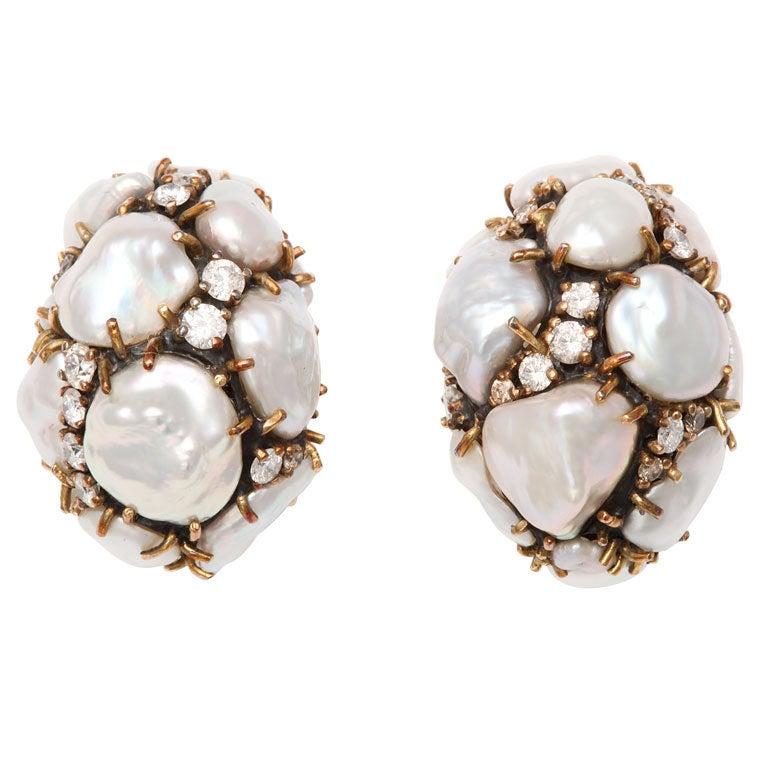 MARILYN COOPERMAN Keshi Pearl Diamond Earclips For Sale