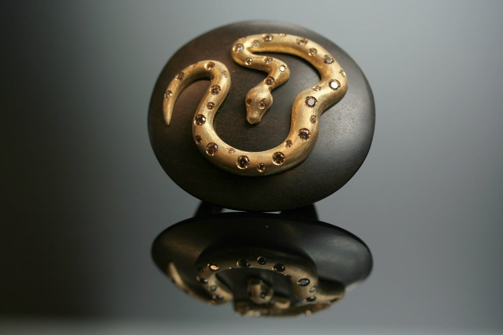 Ebony Gold and  Diamond Snake Ring by Michael Kanners 2