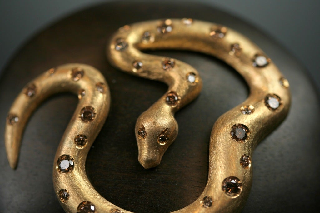 Ebony Gold and  Diamond Snake Ring by Michael Kanners 4