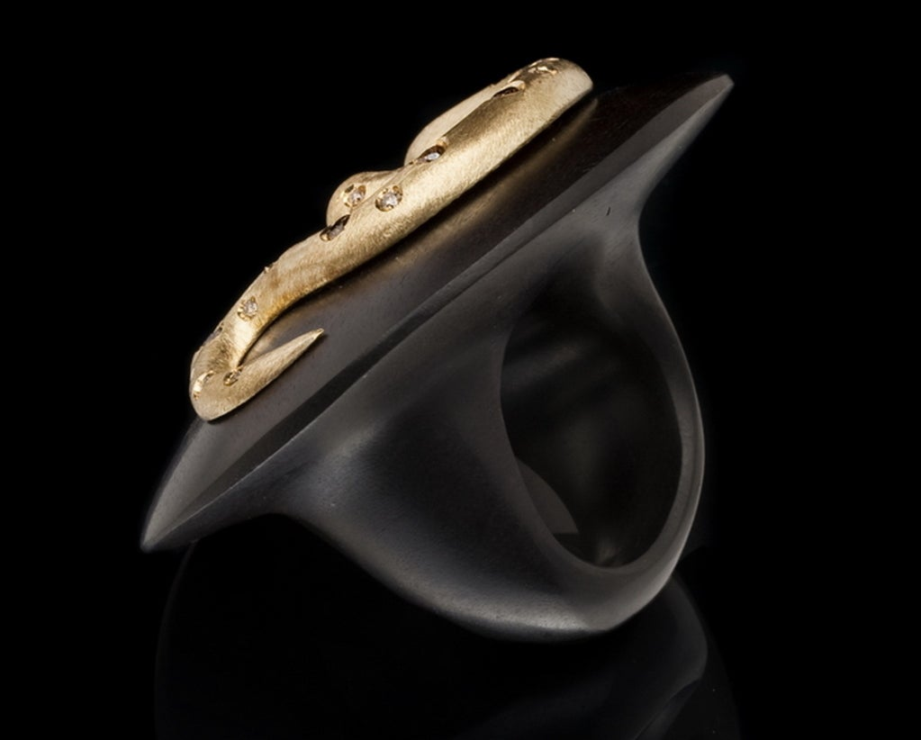 Ebony Gold and  Diamond Snake Ring by Michael Kanners 5