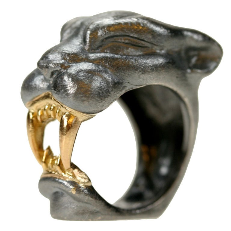 michael kanners gold and oxidized silver panther ring for
