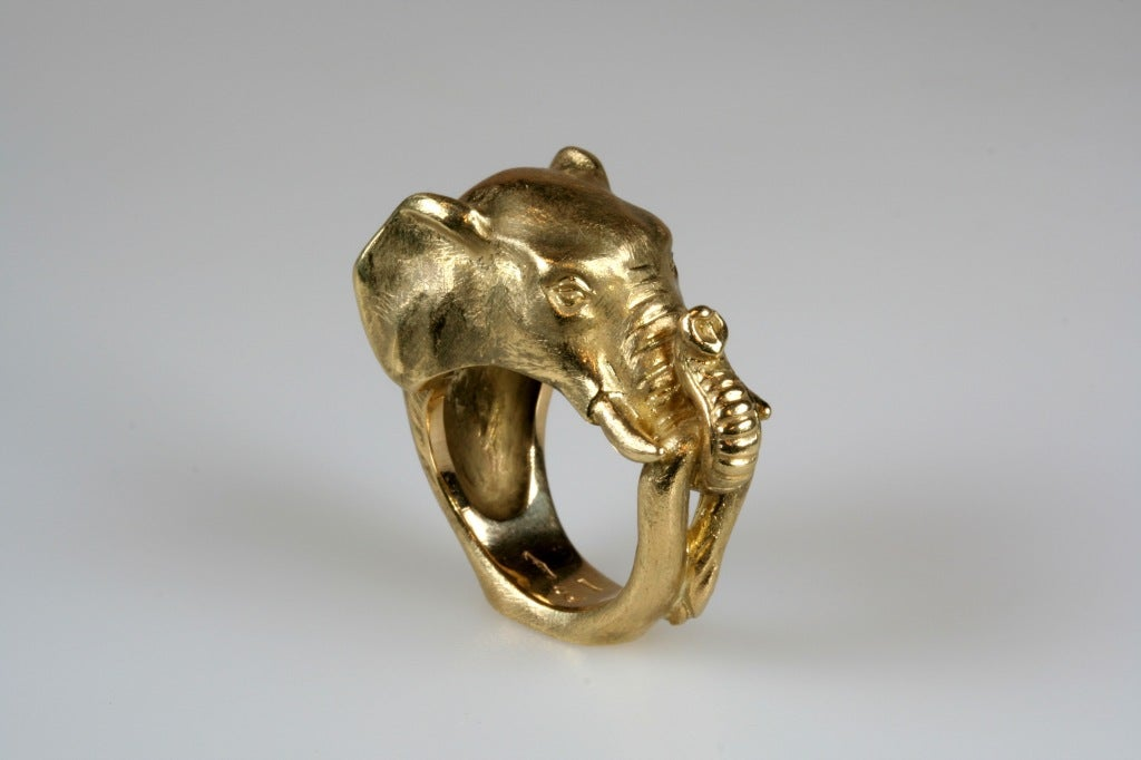 Michael Kanners Gold Elephant Ring At 1stdibs