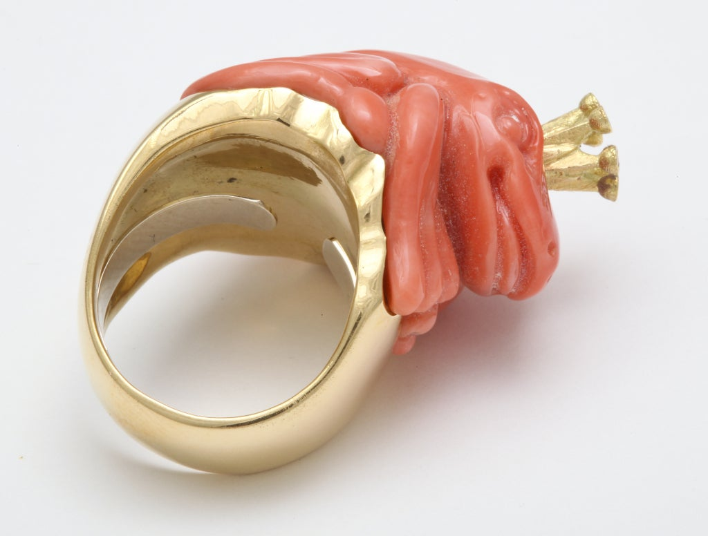 Women's Michael Kanners Coral Diamond Gold Crowned Frog Ring For Sale