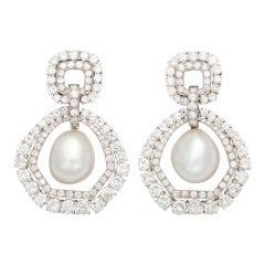 DAVID WEBB Pearl and Diamond Drop Earclips