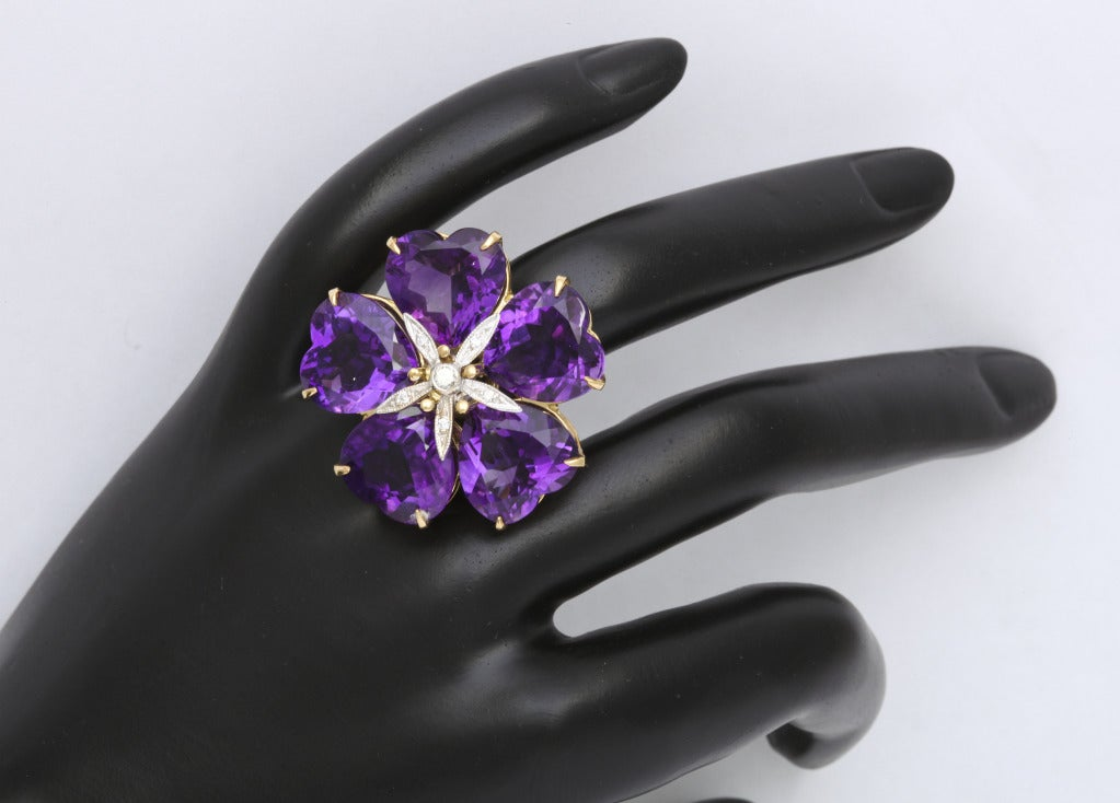 Michael Kanners Amethyst Flower Ring 7