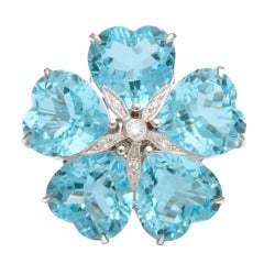 Michael Kanners Bright Blue Topaz Flower Ring