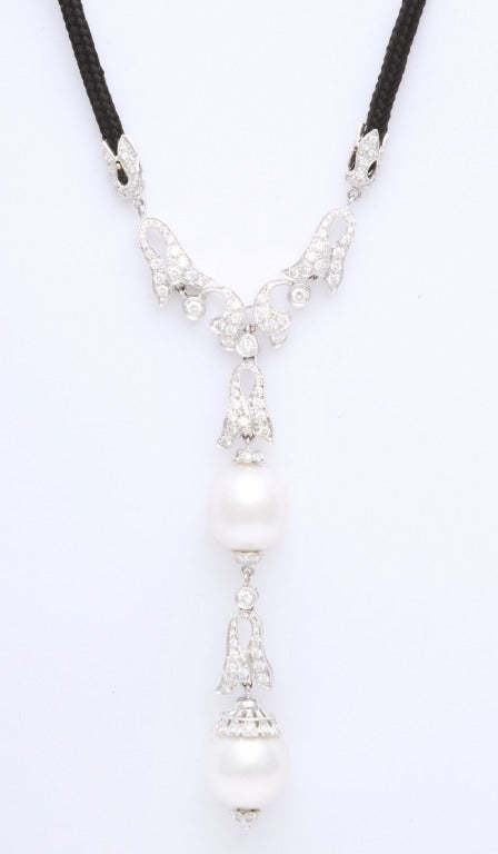Contemporary Pearl Diamond Necklace For Sale