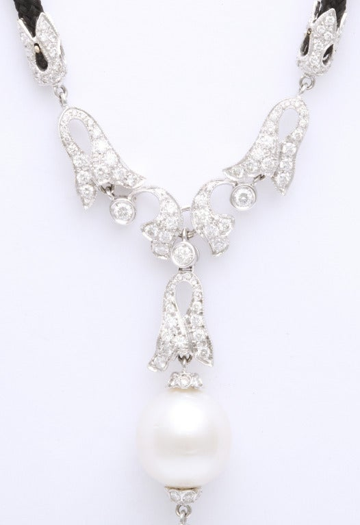 Pearl Diamond Necklace In New Condition For Sale In Bal Harbour, FL