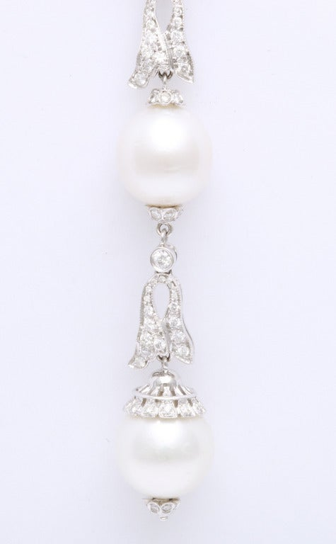 Women's Pearl Diamond Necklace For Sale