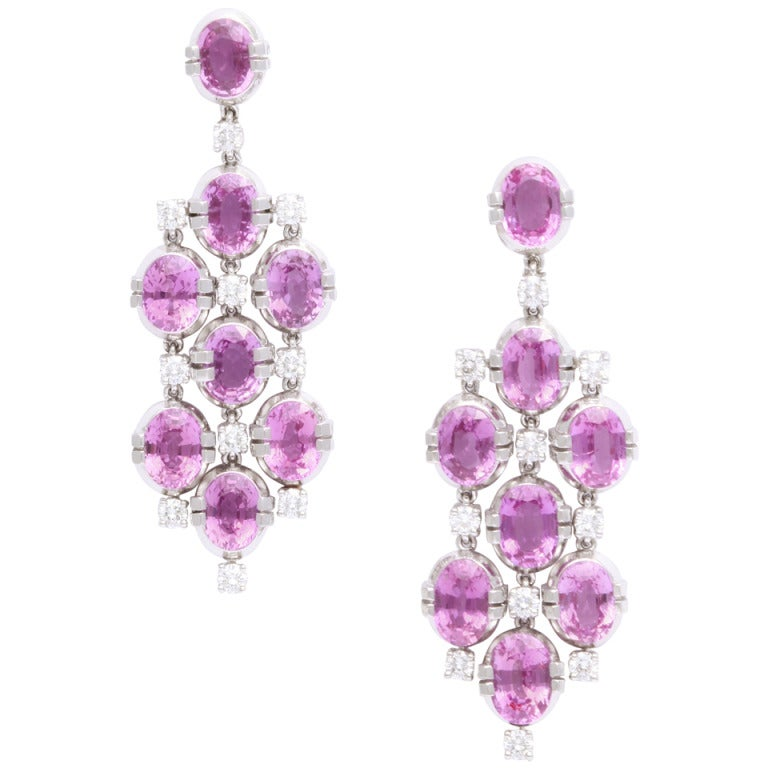 Tanagro Pink Sapphire Diamond Earclips